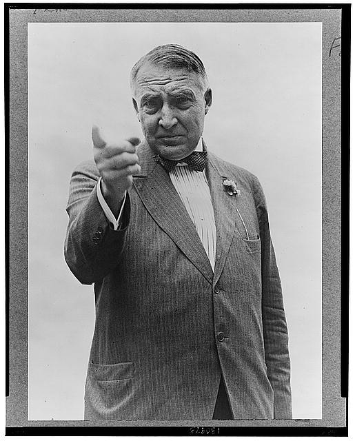 [Warren Harding, half-length portrait, standing, facing front, gesturing with right hand]