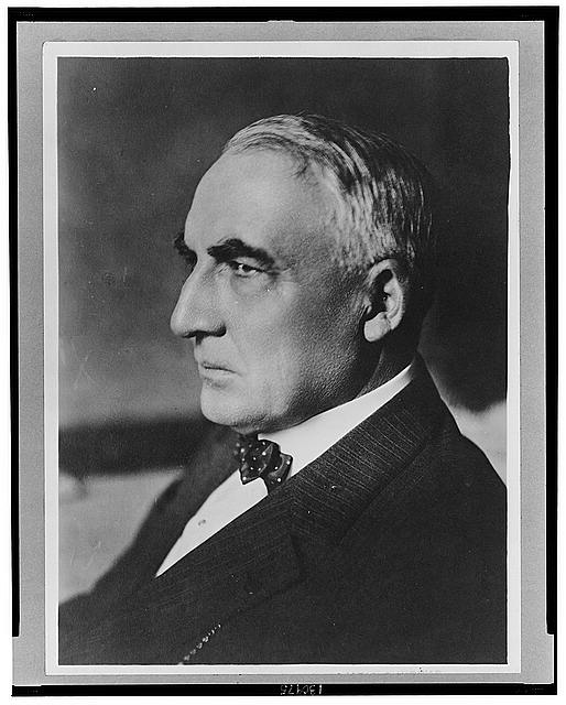 [Warren Harding, head-and-shoulders portrait, facing left]
