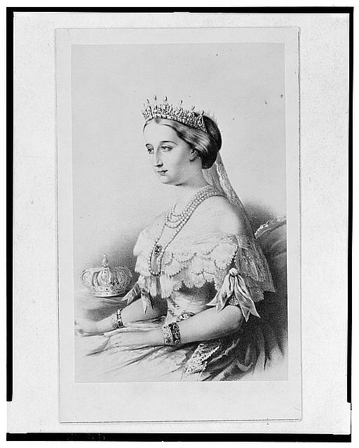 [Empress Eugenia of France, three-quarter length portrait, seated, turned left]