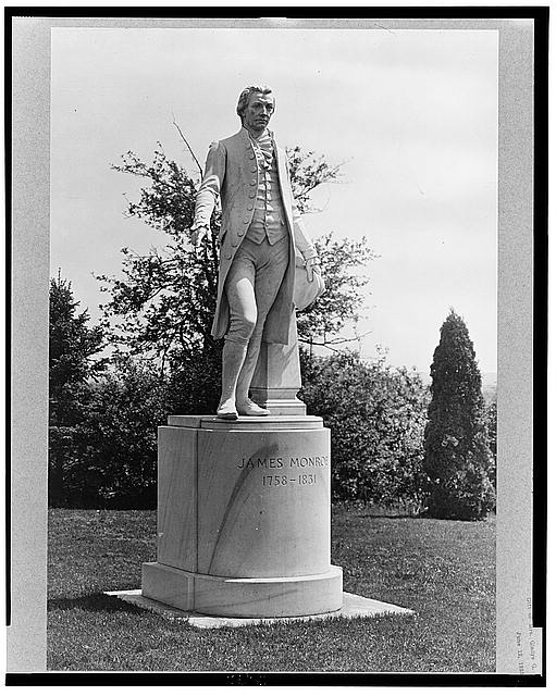 Virginia, Charlottesville, statue of James Monroe at Oak Lawn [i.e., Ashlawn]