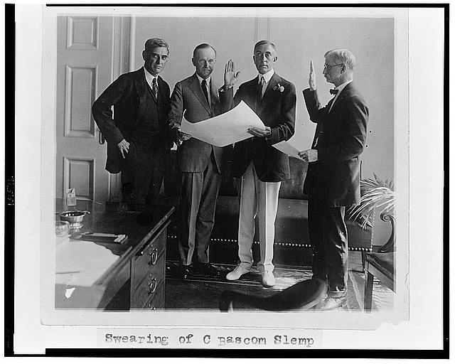 Swearing of C. Bascom Slemp as Sec[re]t[ar]y to Pres. Coolidge