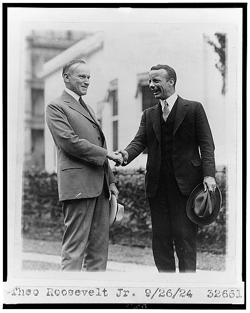 Theo Roosevelt Jr. [shaking hands with Calvin Coolidge]