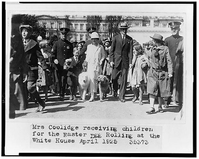 Mrs. Coolidge receiving children for the Easter egg rolling at the White House
