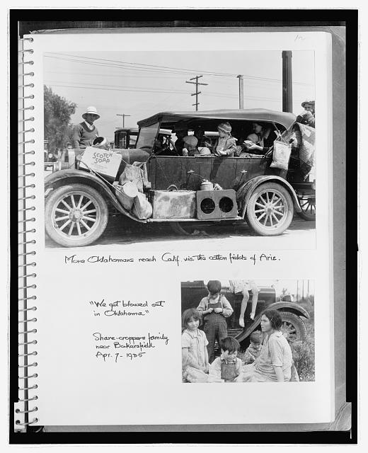 "More Oklahomans reach Calif. via the cotton fields of Ariz. ; ""We got blowed out in Oklahoma."" Share-croppers family near Bakersfield, Apr. 7, 1935"