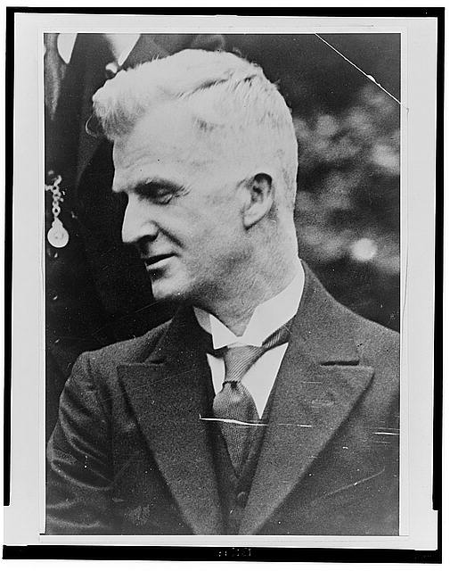 [James Scullin, head-and-shoulders portrait, facing left]