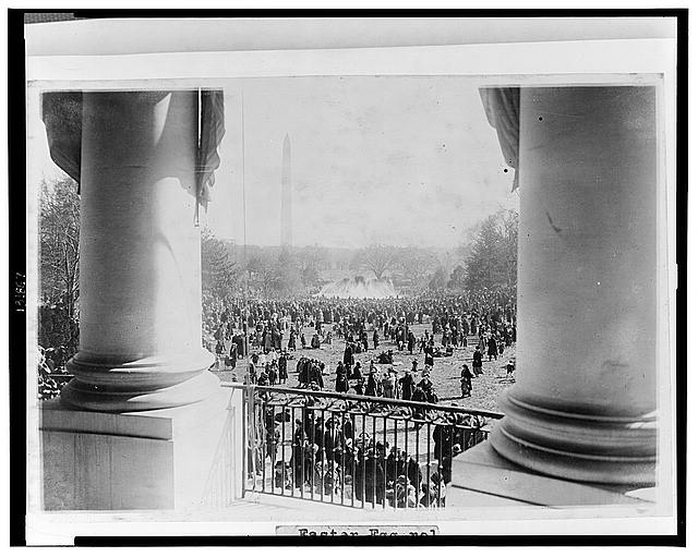 Easter egg rolling at the White House today, view from the south portico looking toward the Wash[ington] Monument