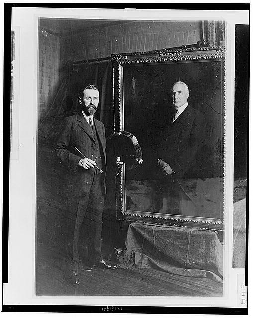 E. Hodgson Smart, the prominent English painter, and his canvas of President Harding which he has just completed