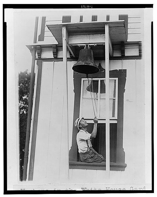 Workers in the White House gardens still cling to the old custom of going to work by the ringing of a huge bell