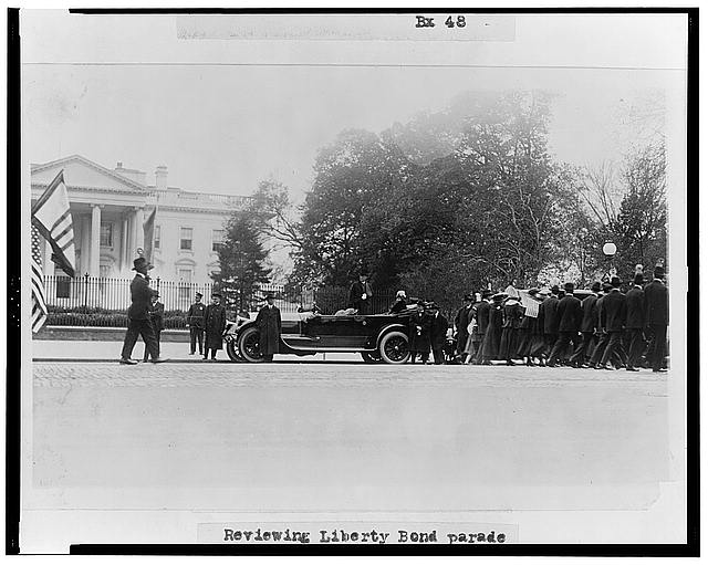 Reviewing liberty bond parade, April 27 1918