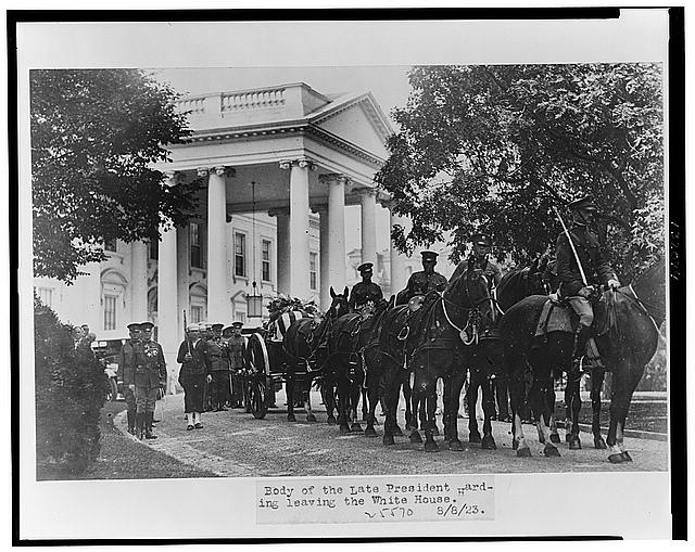 Body of the late President Harding leaving the White House