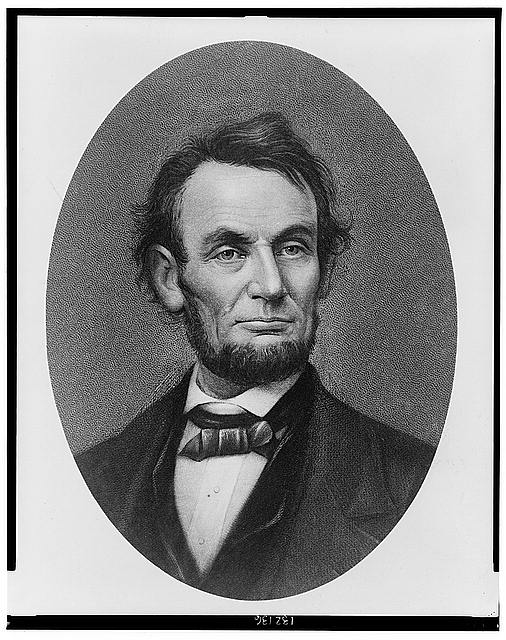 [President Abraham Lincoln, bust portrait in cameo, facing front]