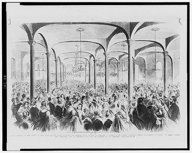 "Great meeting of the ladies of New York at the Cooper Institute, on Monday, April 29, 1861, to organize a society to be called ""Women's Central Association of Relief,"" to make clothes, lint bandages, and to furnish nurses for the soldiers of the Northern Army"