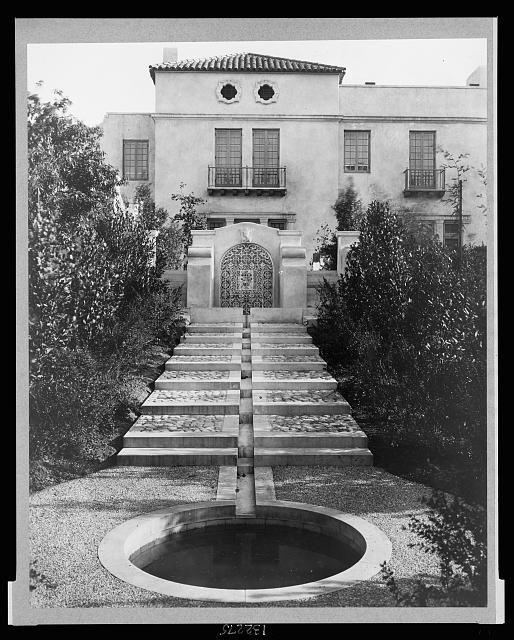 Pasadena, California, Mrs. Herbert Coppell home - pond at foot of long stairway leading up to entrance gate