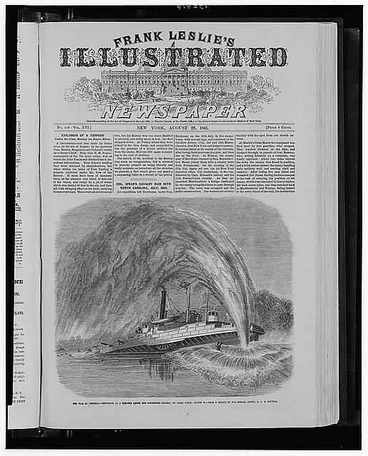 The war in Virginia - Explosion of a torpedo under the Commodore Barney, on James River, Aug. 4