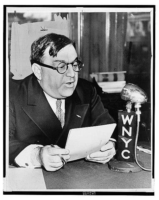 Mayor La Guardia speaks over WNYC on Grade A milk from Budget Room