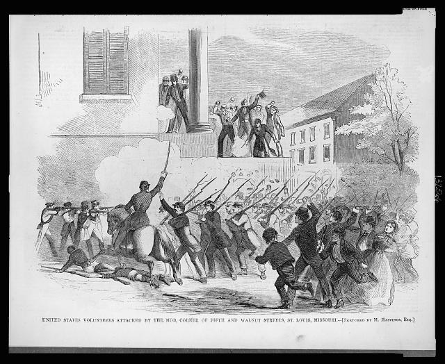 United States Volunteers attacked by the mob, corner of Fifth and Walnut Streets, St. Louis, Missouri