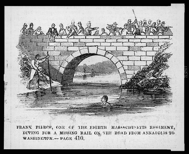 Frank Pierce, one of the Eighth Massachusetts Regiment, diving for a missing rail on the road from Annapolis to Washington