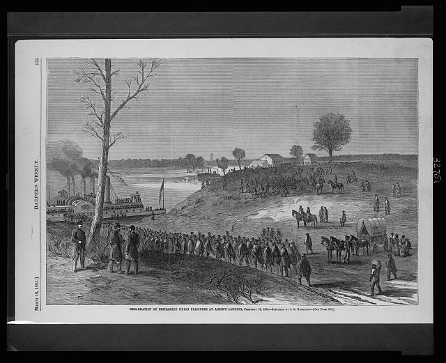 Embarkation of exchanged Union prisoners at Aiken's Landing, February 21, 1865