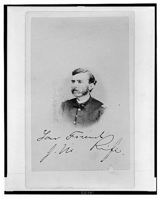 [Jacob M. Rife, Captain, 7th West Virginia Cavalry, head-and-shoulders portrait, wearing uniform, facing left]