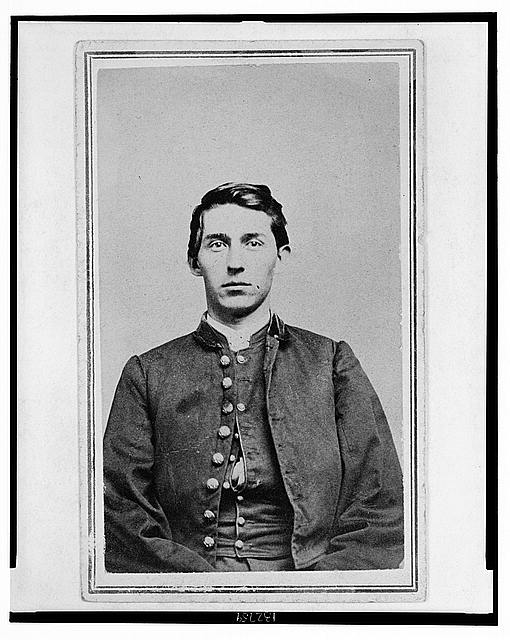[Charles Whittington, Sergeant Major, 7th West Virginia Cavalry, half-length portrait, wearing uniform, seated, facing front]