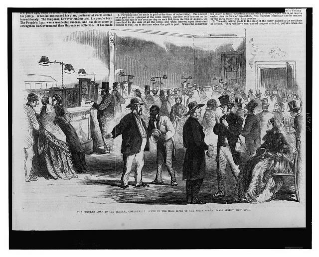 The popular loan to the federal government - scene in the main room of the Assay Office, Wall Street, New York