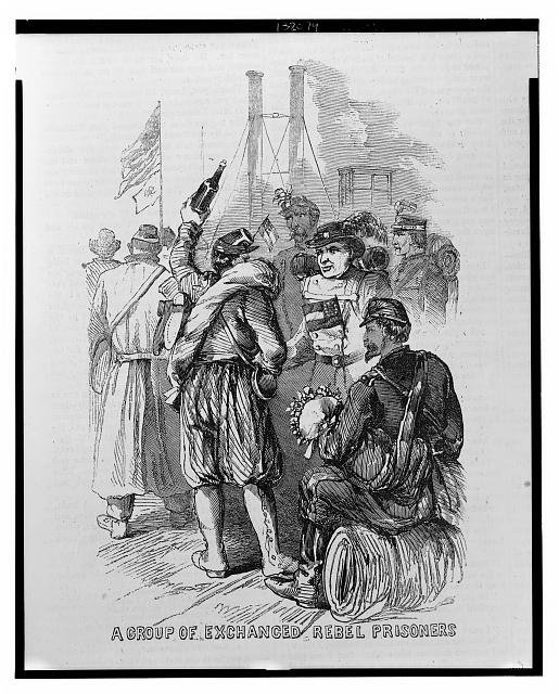 A disloyal demonstration, New Orleans, Feb. 20th 1863 A group of exchanged Rebel prisoners /