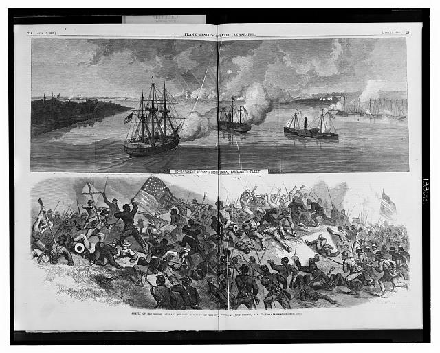 Bombardment of Port Hudson by Admiral Farragut's fleet Assault of the Second Louisiana (Colored) regiment on the Rebel works at Port Hudson, May 27 /