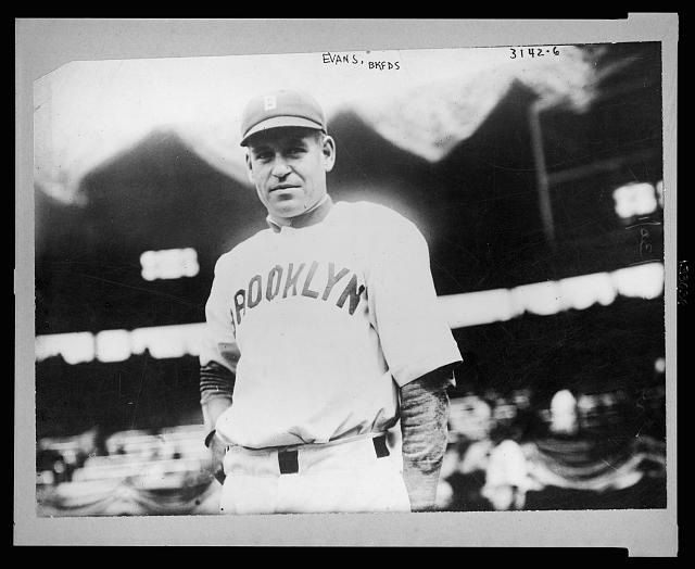 [Steve (Louis Richard) Evans, Brooklyn (Federal League) baseball player, half-length portrait, standing, facing front, wearing baseball uniform]