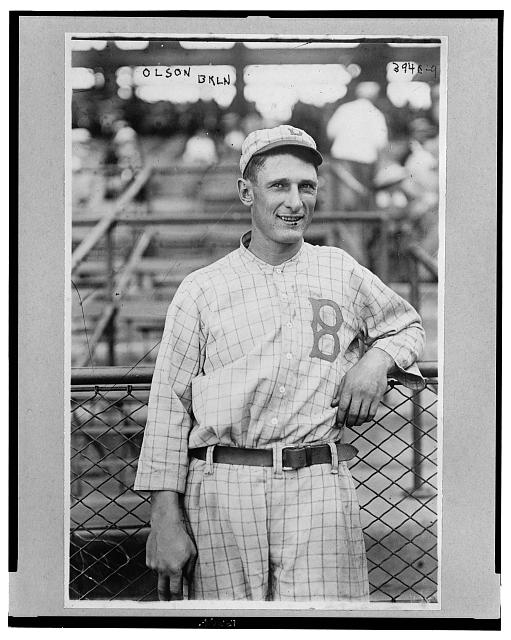 [Ivan Massie Olson, Brooklyn baseball player, half-length portrait, standing, facing front, wearing baseball uniform]