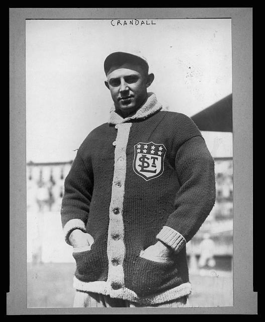 "[James Otis ""Doc"" Crandall, St. Louis Terriers (Federal League) baseball player, half-length portrait, facing front, wearing sweater with ""St.L"" emblem]"