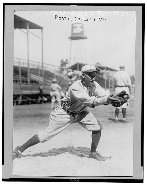"[Derrill Burnham ""Del"" Pratt, St. Louis Browns baseball player, wearing uniform, standing in position to receive thrown baseball]"
