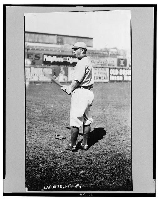 [Frank B. LaPorte, St. Louis Browns baseball player, facing left, standing, wearing uniform, holding bat]