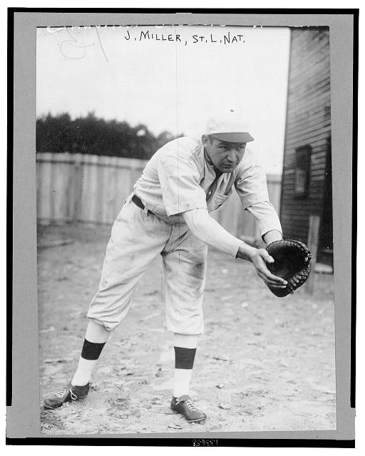 "[John Barney ""Dots"" Miller, St. Louis Cardinals baseball player, standing in position as 1st baseman, ready to receive thrown ball]"