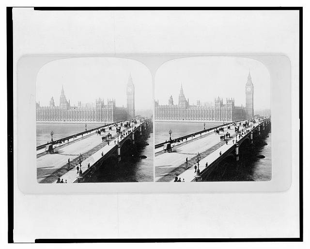 Westminster Bridge and the House of Parliament, London, England