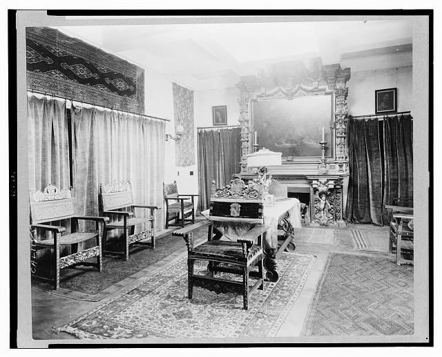 Formal sitting room at El Fureides, home of J.W. Gillespie, Santa Barbara, California