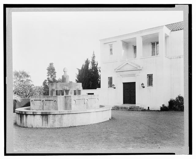 Fountain on the lawn at El Fureides, home of J.W. Gillespie, Santa Barbara, California