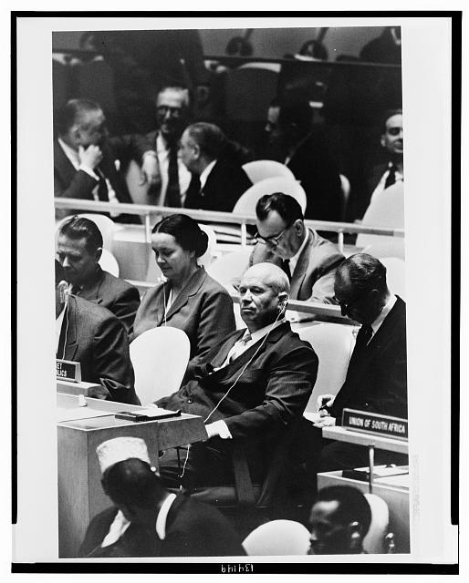 [Nikita Khrushchev, leader of the Union of Soviet Socialist Republics, at a meeting of the United Nations General Assembly, New York, New York]