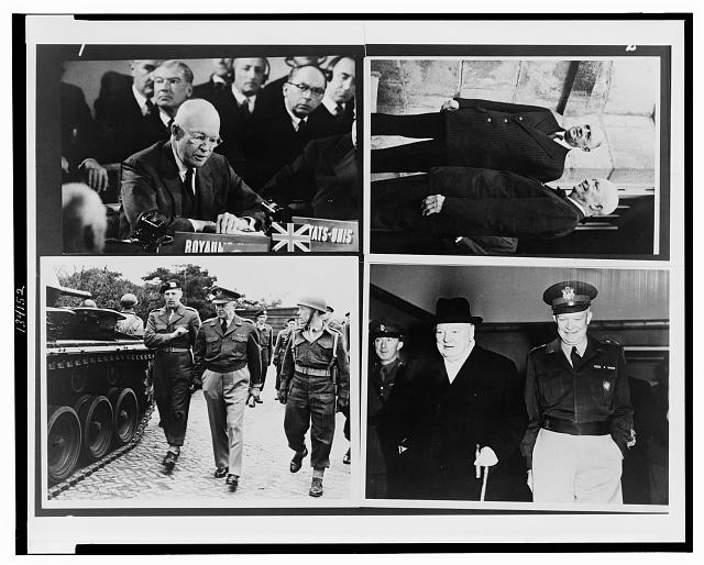 [Dwight D. Eisenhower addressing NATO, with Charles de Gaulle, and with Sir Winston Churchill]