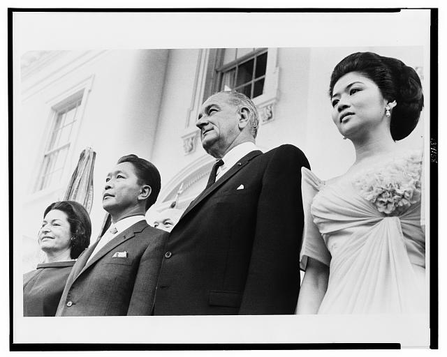 [President and Mrs. Lyndon Johnson and President and Mrs. Ferdinand Marcos at the White House]