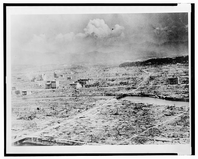 General panoramic view of Hiroshima after the bomb ... shows the devastation ... about 0.4 miles ...