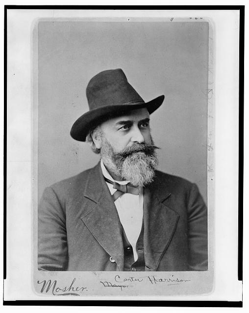 [Carter Harrison, head-and-shoulders portrait, facing right, wearing hat]