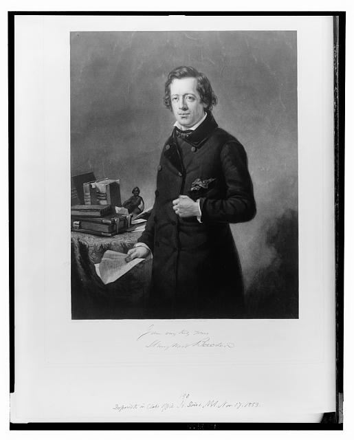 [Henry Ward Beecher, three-quarter length portrait, standing next to table, facing front, holding paper in right hand]