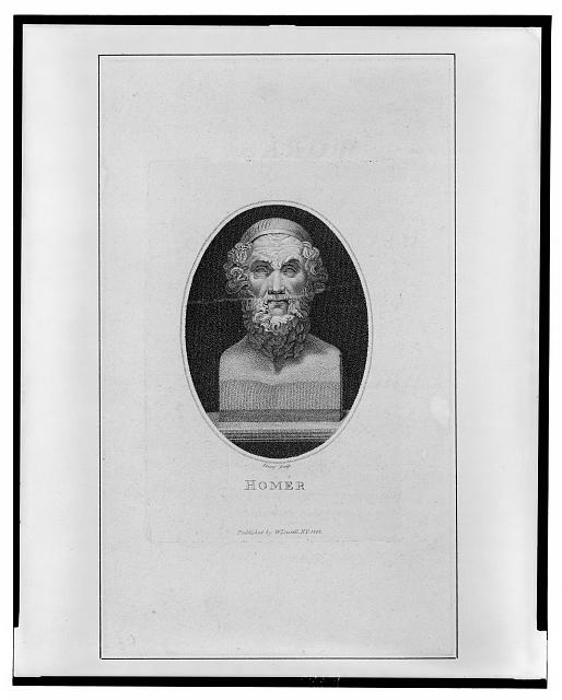 [Sculpture of Homer, bust portrait, facing front]