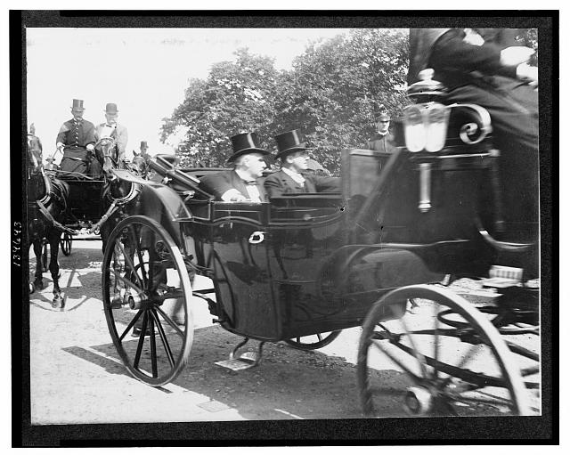 [William McKinley and another man seated in a carriage enroute to or from the U.S. Capitol on the day of his inauguration]