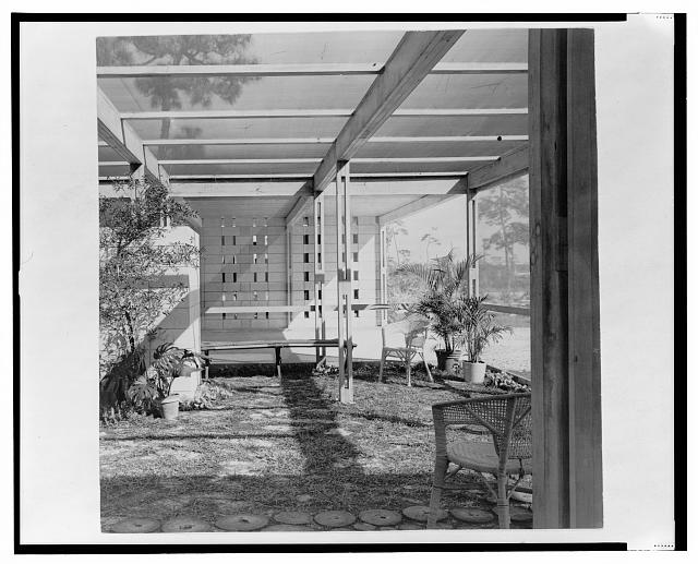 [Maehlman guest house, Naples, Florida. Screen porch interior. Photograph]