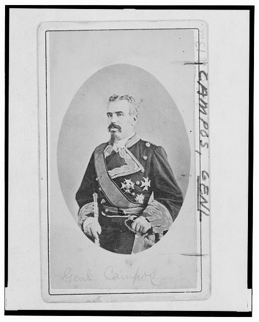 [Arsenio Martinez Campos, Spanish captain-general of Cuba, three-quarter length portrait, in uniform, facing left]