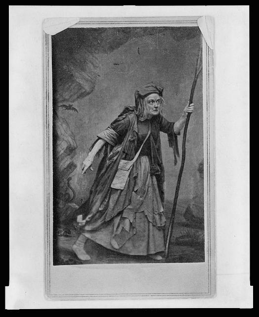 [Charlotte Cushing, in costume as Meg Merrilies, full-length portrait, facing right]