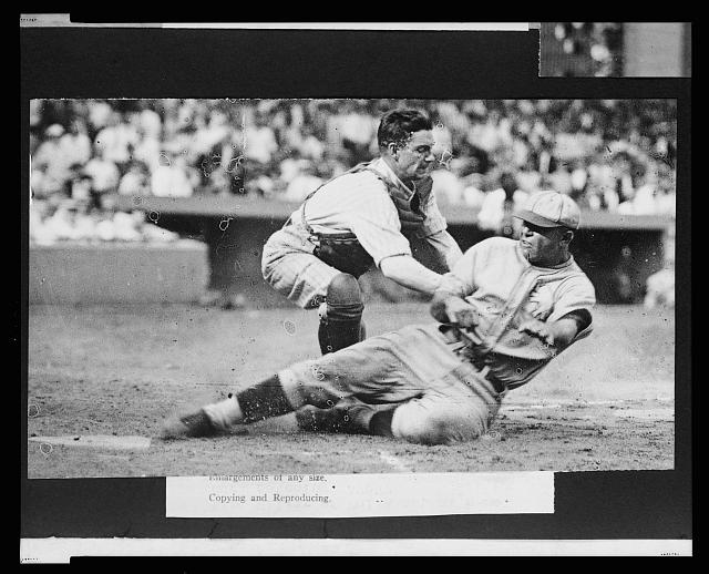 "[Bing Miller, of the Philadelphia Athletics, tagged out at home plate by Washington Nationals catcher ""Muddy"" Ruel during baseball game]"