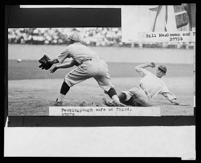 [Roger Peckinpaugh, of the Washington Nationals, sliding safely into 3rd base during baseball game between Washington and the Philadelphia Athletics]