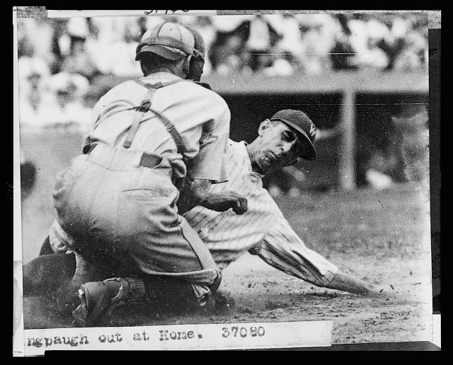 [Roger Peckinpaugh, of the Washington Nationals, tagged out at home plate during baseball game between Washington and the Philadelphia Athletics]